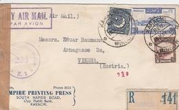 Pakistan Lettre Recommandée Karachi Pour L'Autriche 1952 - Pakistan