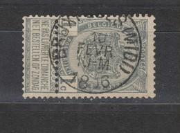 COB 53 Oblitération Centrale BRUXELLES (Midi) - 1893-1907 Coat Of Arms
