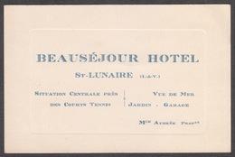 ST LUNAIRE ( 35 Ille Et Vilaine ) - Carte Publicitaire,  Commerciale - Beausejour  Hôtel - Publicités