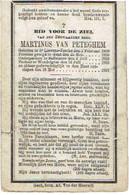 Doodsprentje E.H. VAN PETEGHEM Martinus - St LIEVENS-ESSE - ZAFFELARE - WONDELGEM - °1809 En Overleden 1881 - Images Religieuses