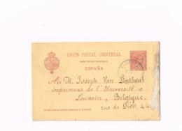 Entier Postal à 10 Centimos.Expédié à Louvain (Belgique) - Enteros Postales