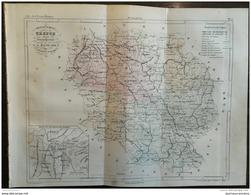 1853 CARTE DE LA CREUSE - ATLAS DE LA FRANCE ILLUSTRÉE - GUÉRET - CHATEAU DE BOUSSAC - ETC .. - Livres, BD, Revues