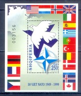 C148- Shqiperia Albania 1999 50th Anniversary Of NATO Dove Jet Flags Of Member Country. - Albania