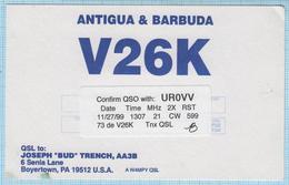 ANTIGUA & BARBUDA / QSL Card / North America. Radio Amateur 1999 - Radio Amatoriale