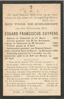 CUYPERS Eduard Aalmoezenier Schoolschip Comte De SMET De NAEYER Vergaan Met 33 Man 19 April 1906 Doodsprentje - Religion & Esotérisme