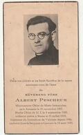 Décès Père Albert PESCHEUR Missionnaire Oblat Awenne Prêtre à Rome Supérieur Scolastique Velaines Louvain Leuven 1943 - Images Religieuses