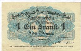 Luxembourg 1un Franc 1 Bon De Caisse 1914 (Quatre -Vingts Pfennig) - Lussemburgo