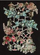 Albrecht & Meister - A & M N° 7873 - SCRAP -  DECOUPIS  - Gaufré / Embossed - Flowers & Birds - 2 Scans - Flowers