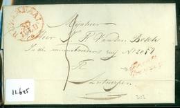 1836 POSTHISTORIE * VOORLOPER * HANDGESCHREVEN BRIEF Uit 1836 Van ROZENDAAL Naar ANTWERPEN BELGIE   (11.645) - Pays-Bas