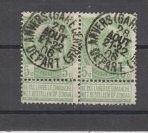 COB 56 En Paire Oblitération Centrale ANVERS Gare Centrale Départ - 1893-1907 Armoiries