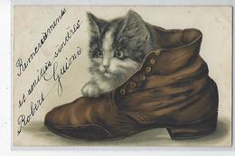 CARTE GAUFFREE CHAT DANS CHAUSSURE  1906 - Chats
