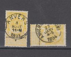COB 54 Oblitération Centrale ANVERS + Station - 1893-1907 Coat Of Arms
