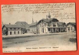 KAH-03 Reinach Aargau Bahnhof S.T.B.  Oberdorf. Gare. Gelaufen In 1910 Nach Frankreich - AG Argovia