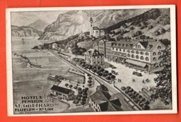 KAH-04 Hotel-Pension St.-Gotthard Fluelen , Litho. Auf Rèckseite, Werbung Für Den Hotel. Carl Huser, Besitzer. - UR Uri
