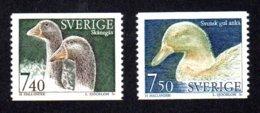 SUEDE 1995 - YT 1851/1852 - Facit 1898/1899 - NEUFS ** LUXE/ MNH - 2 Valeurs - Faune, Animaux D'élevage, Oies Et Canard - Neufs