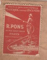 Enveloppe Avec Vignette PONS Paris / Début 1900 / Publicité Matériel Incendie / Fournisseur De La Guerre, De La Marine - 1900 – 1949