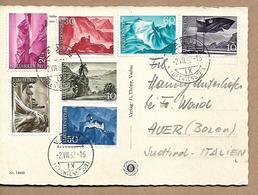 LIECHTENSTEIN 1962 PC Sent To Italy With 7 Stamps Sc#336-342 PC USED - Liechtenstein