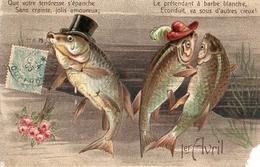 1er Avril 124, Humour Poisson Humanisé Jolis Amoureux Gaufré - 1° Aprile (pesce Di Aprile)