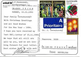 Vignettes Noël Danemark 1993 Sur Carte Postal Vers Tchecoslovaquie - Affrancature Meccaniche Rosse (EMA)