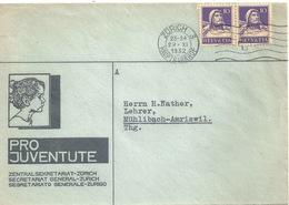 """Motiv Brief  """"Pro Juventute Zentralsekretariat Zürich""""         1932 - Svizzera"""
