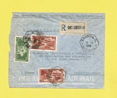 Lettre Par Avion Recommandée INDOCHINE  De SAÎGON VIETNAM-SUD Pour PARIS Le 15 07 1955 Cachet R A U - Vietnam