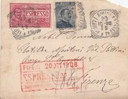 394 - Busta Espresso Senza Testo Del 1908 Da Rimini A Firenze Con Cent 25 ESPRESSO + Cent 15 Ardesia - 1900-44 Victor Emmanuel III.