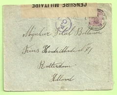 Brief PMB 4-> Rotterdam (Holland) Strookje CENSURE MILITAIRE 19 + CENSUUR C.F. (Folkestone)(B8866) - Army: Belgium