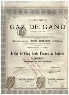 Titre Ancien - Compagnie Du Gaz De Gand - Titre De 1880 - Elektriciteit En Gas