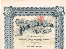 Titre Ancien - Crédit Foncier Belgo-Suisse Du Mexique - Société Anonyme  - Titre De 1911 - Bank En Verzekering