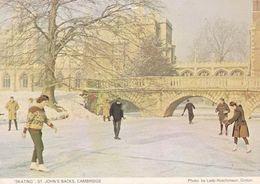Skating St Johns Backs Cambridge Rare Winter Christmas Postcard - Postkaarten