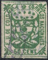 COLOMBIA - 1864 - Yvert 26, Usato, Verde, 50 Cent. - Colombia