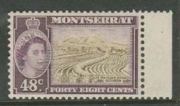 Montserrat, EIIR, 1957, 48 Cents, Right Marginal & Selvedge MH * - Montserrat