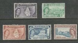 Montserrat, EIIR, 1953 - 19621/2c, 2c,3c, 8c, 12c MH * - Montserrat