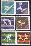 V) 1964 POLAND, SPORT, 18TH OLYMPIC GAMES, TOKYO, ROWING, WEIGHT LIFTING, RELAY RACE, BOXING, SOCCER, LONG JUMP, MNH - 1944-.... Republic