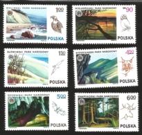 V) 1976 POLAND, NATIONAL PARKS, WOLINSKI PARK AND EAGLE, SLOWINSKI PARK AND SEA GULL, BIESZCZADZKI PARK AND LYNX, MNH - Unused Stamps
