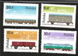 V) 1985 POLAND, BOX CAR, E LOCOMOTIVE, TWO-AXLE COAL CAR, PASSENGER CAR, RAILWAY PAFAWAG ROLLING STOCK CO, MNH - 1944-.... Republic