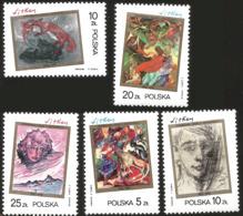 V) 1985 POLAND, PAINTINGS BY STANISLAW IGNACY WITKIEWICZ (1885-1939), MARYSIA AND BUREK IN CEYLON, WOMAN WITH A FOX, MNH - 1944-.... Republic