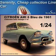 Neuf Citroën Ami 6 Bleu 1961 1/24 Auto Vintage N°10 Métal - Cars & 4-wheels