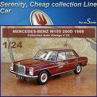 Neuf Mercedes Benz 200 D W115 1968 Bordeaux 1/24 Auto Vintage N°33 Métal - Cars & 4-wheels