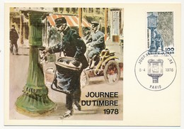 FRANCE - Carte Maximum - Journée Du Timbre 1978 - Relevage Du Courrier - Paris - 8 Avril 1978 - Stamp's Day