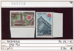 Andorra - Andorre -  Michel 290-291 - ** Mnh Neuf Postfris - CEPT - Französisch Andorra