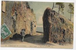 (RECTO / VERSO) CORNICHE DE L' ESTEREL AVEC PERSONNAGE EN 1910 - VUE SUR CANNES - CACHET AMBULANT TRI FERROVIAIRE - CPA - France