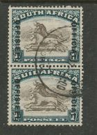 South Africa,  1933, OFFICIAL  OFFISIEEL Opt On 1/= Brown & Deep Blue, Inverted Watermark, Vertical Pair, Used - South Africa (...-1961)