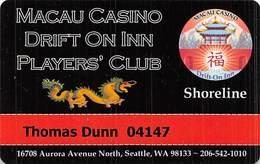 Macau Casino / Drift On Inn Players Club - Slot Card - Seattle WA - Casino Cards