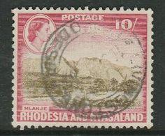 Rhodesia & Nyasaland, EIIR, 1959, 10/= Used, LIVINGSTONE C.d.s. - Rhodesia & Nyasaland (1954-1963)