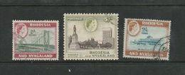 Rhodesia & Nyasaland, EIIR, 1959, 2/=, 2/6. 5/= Used, - Rhodesia & Nyasaland (1954-1963)