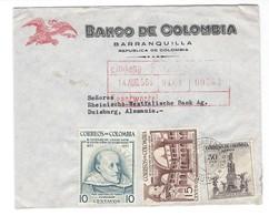 COVER CORREO COLOMBIA - BANCO DE COLOMBIA - BARRANQUILLA - DUISBURG - GERMANY. - Colombie