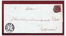 DANEMARK--1853--LETTRE DE GAABENSE POUR COPENHAGUE- FIRE R.B.S. BRUN FONCE(SORTBRUN)-- CHIFFRE 100--CERTIFICAT NIELSEN- - 1851-63 (Frederik VII)