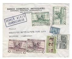 COVER CORREO COLOMBIA - AERO TRANSOCEANICO - BANCO COMERCIAL ANTIOQUENO - BARRANQUILLA - DUISBURG - GERMANY. - Colombie