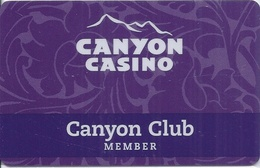 Canyon Casino Black Hawk CO BLANK Slot Card - Last Line Of Text Starts With 'Center' - Casino Cards